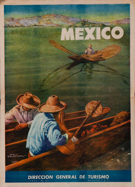 Butterfly Net Fisherman Original Vintage Mexico Travel Poster