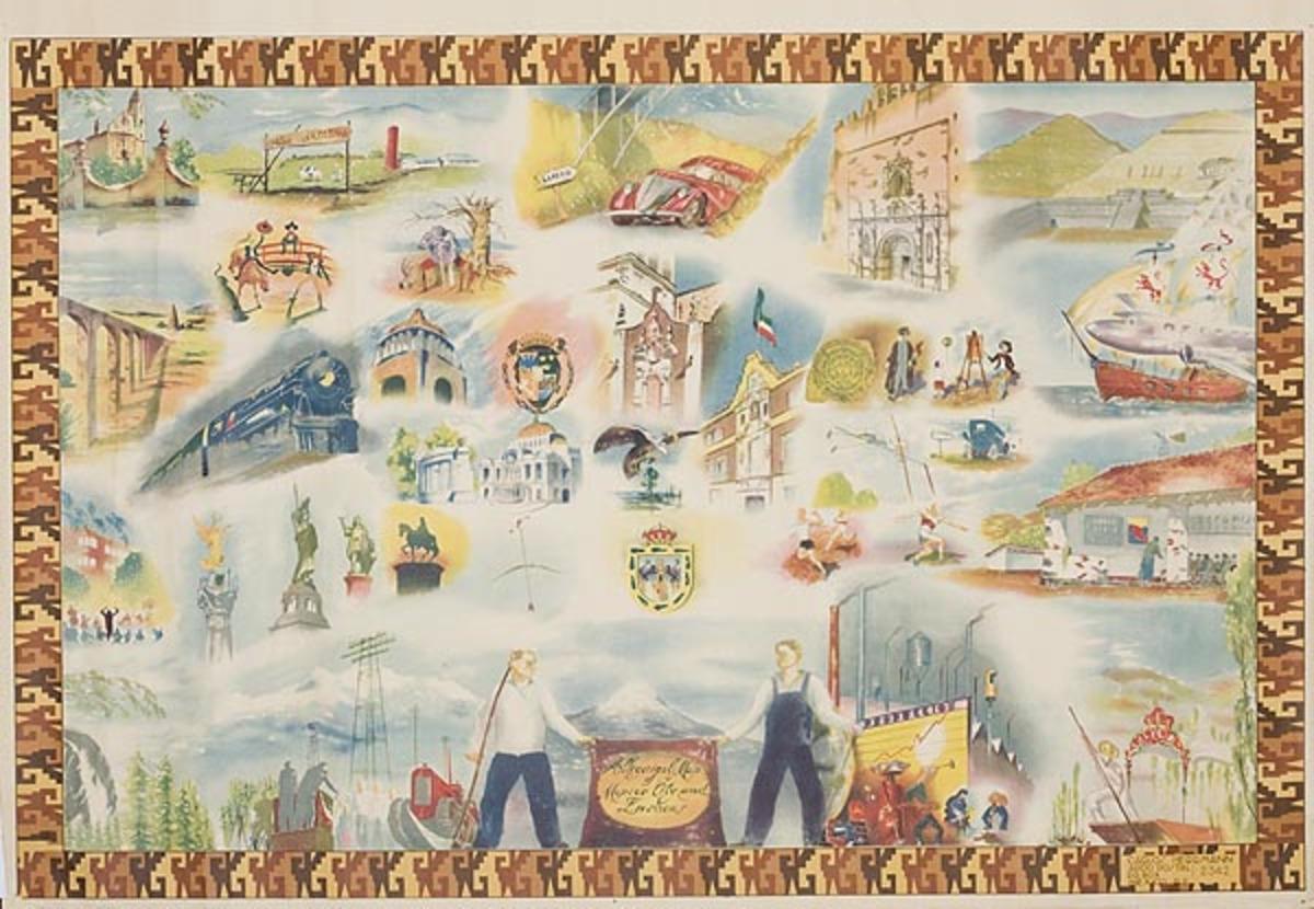 Mexico City Icons Original Mexican Travel Poster