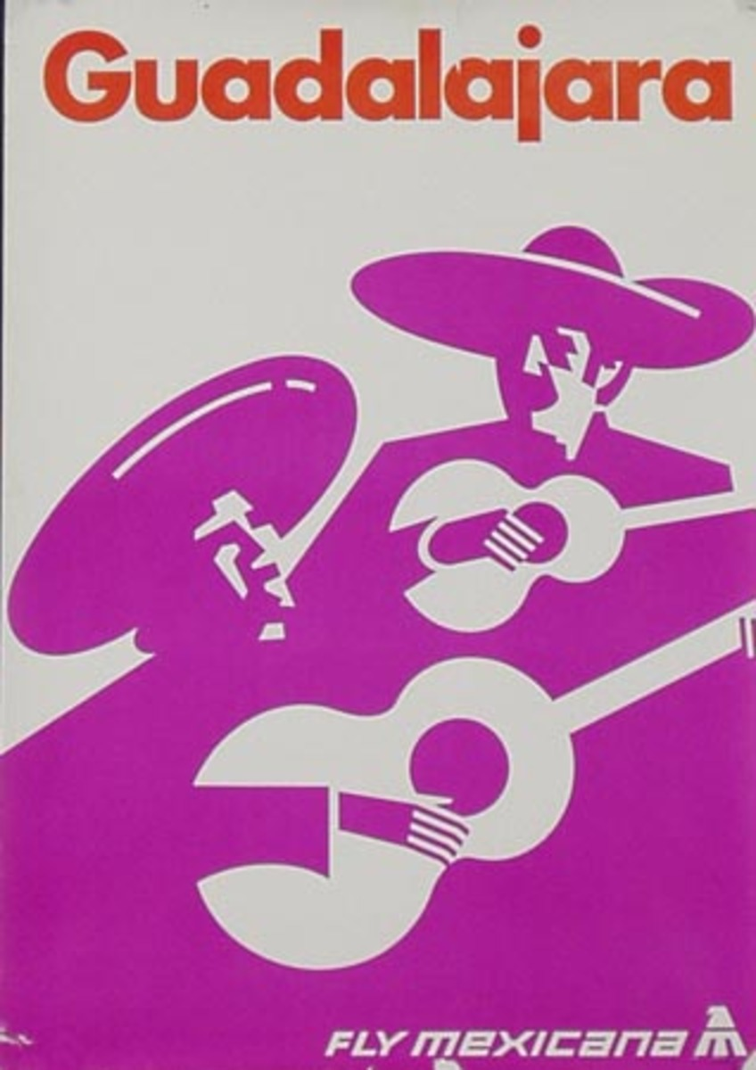 Guadalajara Mexico Original Mexicana Airlines Travel Poster Mariachis