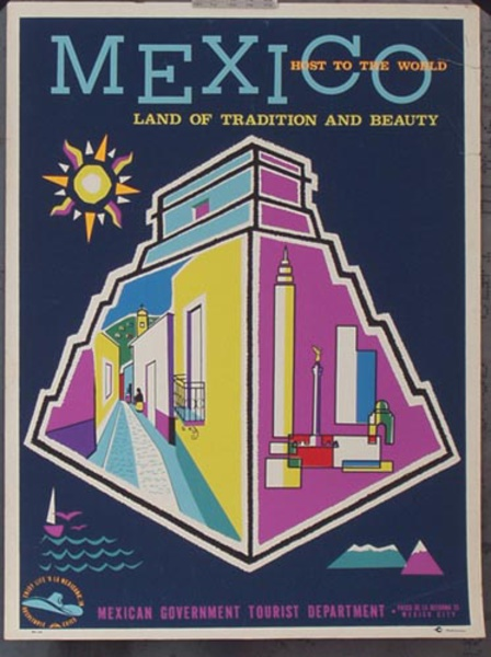Mexico Original Vintage Travel Poster Land of Tradition