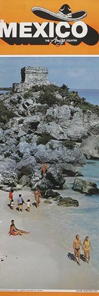 Mexico The Amigo Country Travel poster beach ruins