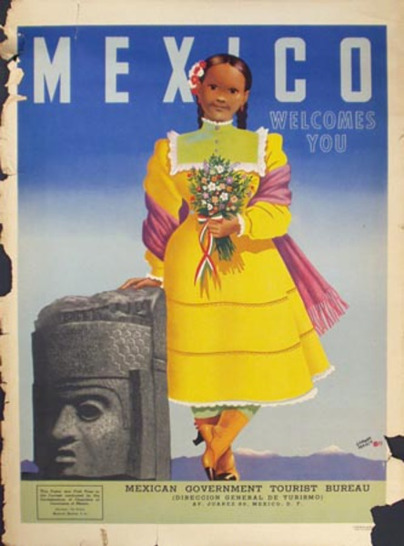 Mexico Original Vintage Travel Poster Mexico Welcomes You, Girl in Yellow Dress