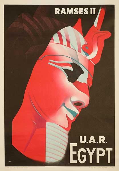 Ramses II Original Egypt UAR Travel Poster