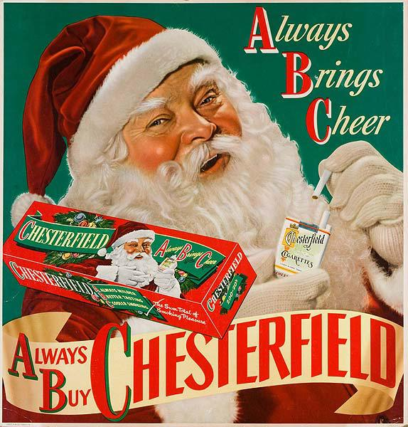 Chesterfield Always Brings Cheer Cigarettes Santa Original American Christmas Advertising Poster