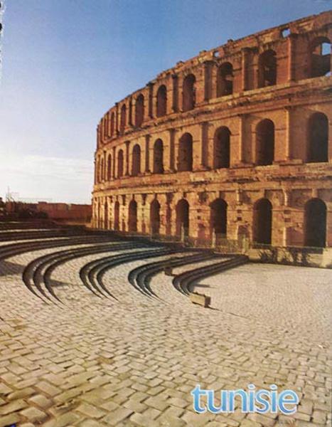 Original Tunisia Travel Poster Colosseum