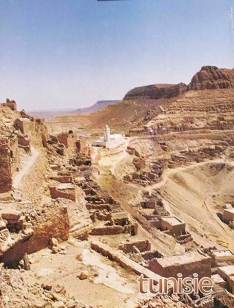 Original Tunisia Travel Poster Town in Desert
