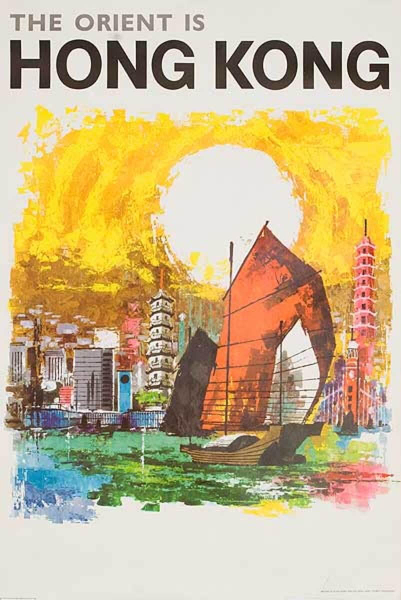 The Orient is Hong Kong Sampan in Harbor Original Travel Poster