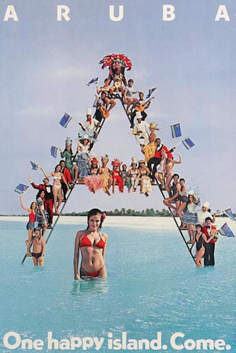 Aruba Original Travel Poster One Happy Island. Come.