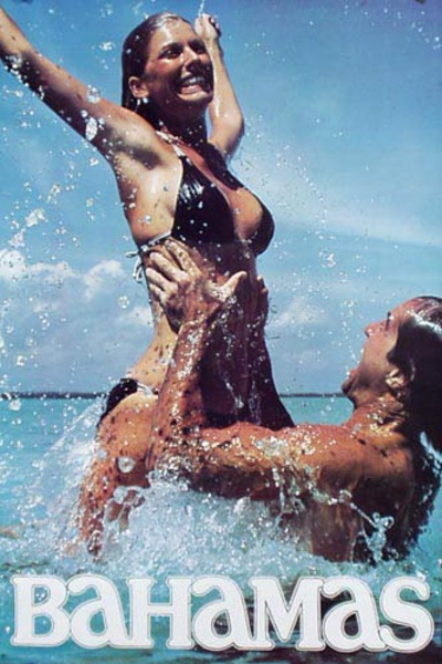 Bahamas Original Travel Poster couple in water