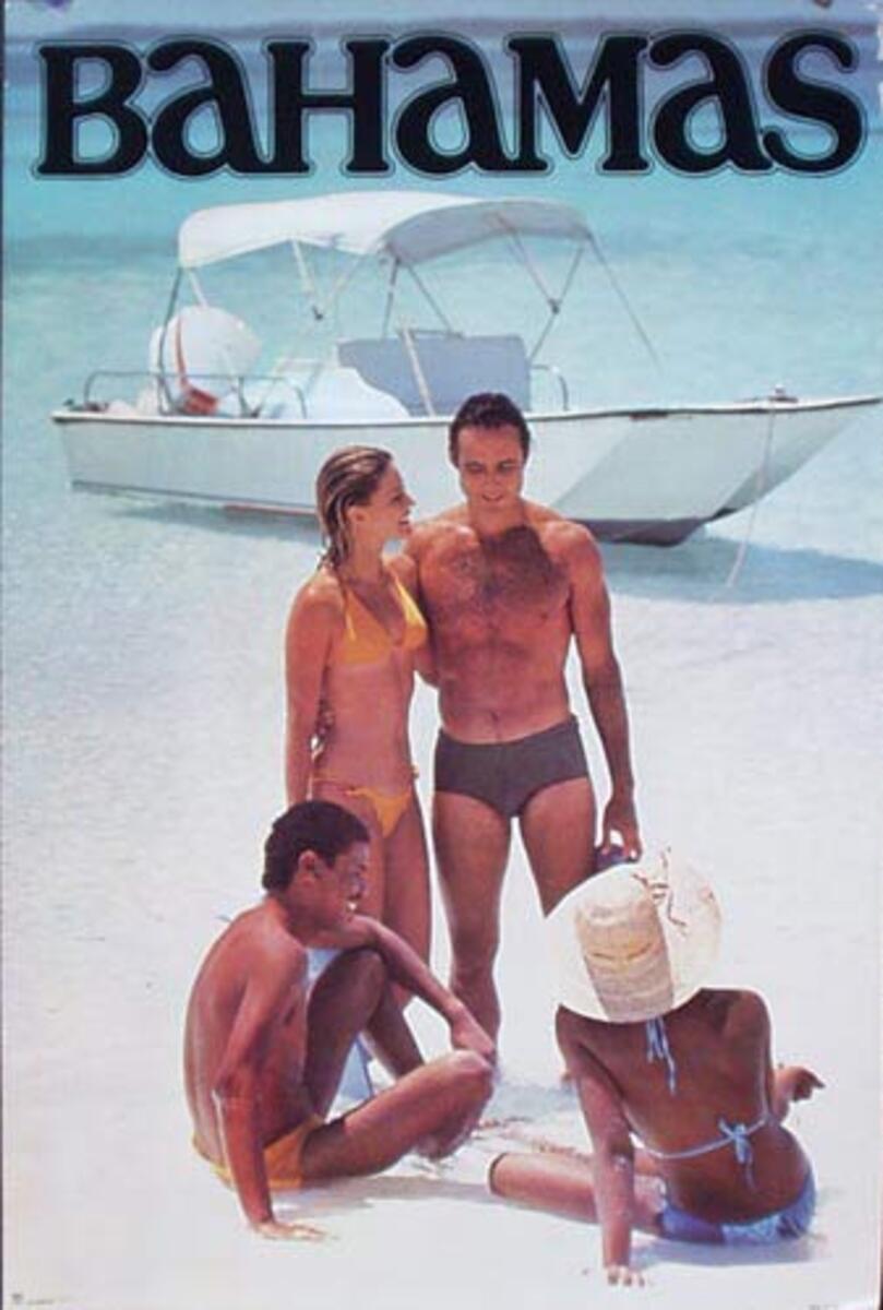 Bahamas Original Travel Poster couples on beach