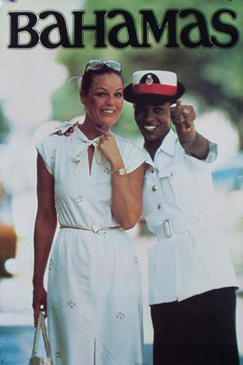 Bahamas Original Travel Poster tourist with police