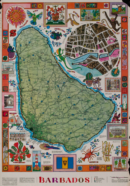 Barbados Map Original Tourism Souvenier Poster
