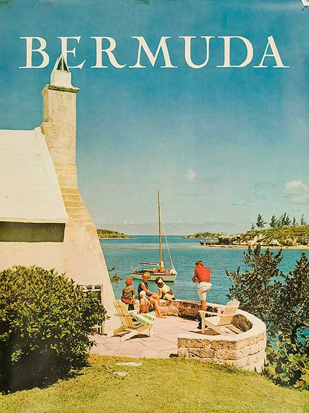Bermuda Travel Poster Family on Patio Photo