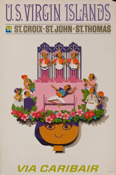 US Virgin Islands Original Vintage Travel Poster Caribair Limbo Dancers