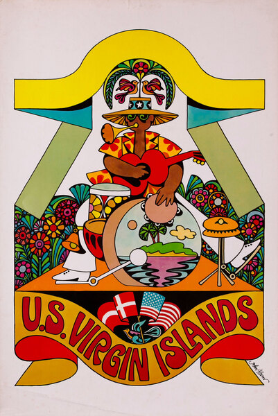 US Virgin Islands Original Vintage Travel Poster Psychedelic 60s