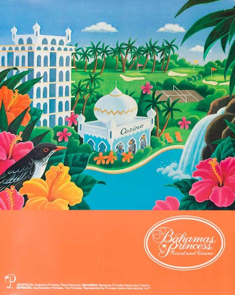 Bahama Princess Resort Original Travel Poster illustrated