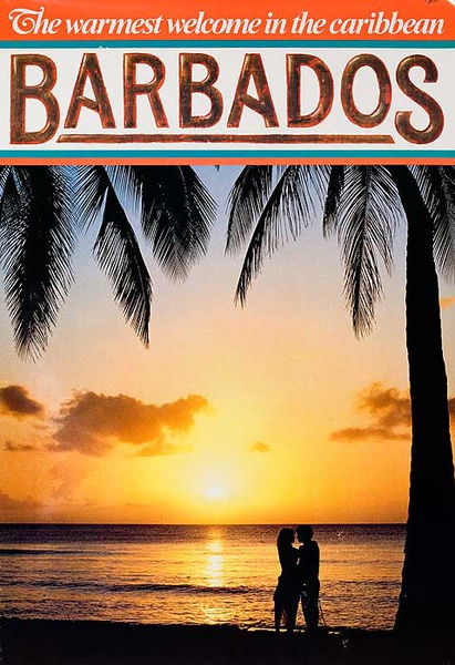 The Warmest Welcome in the Caribbean Barbados Original Travel Poster sunset