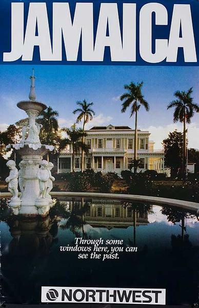 Jamaica Original Travel Poster through some windows