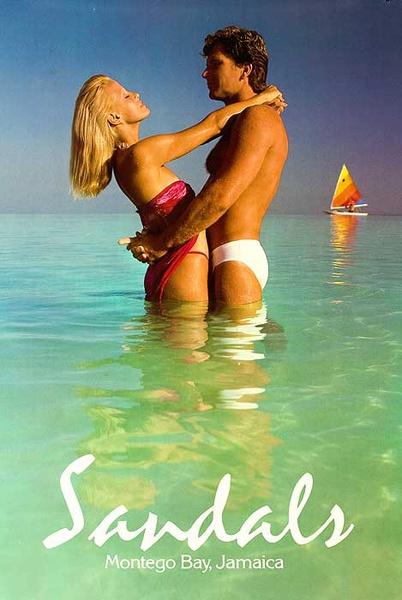 Sandals, Montego Bay Original Resort Travel Poster Couple with Sailboat