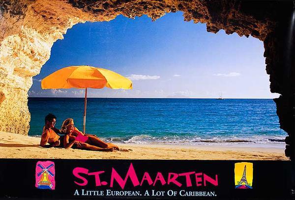 San Maarten Original Caribbean Travel Poster couple on beach