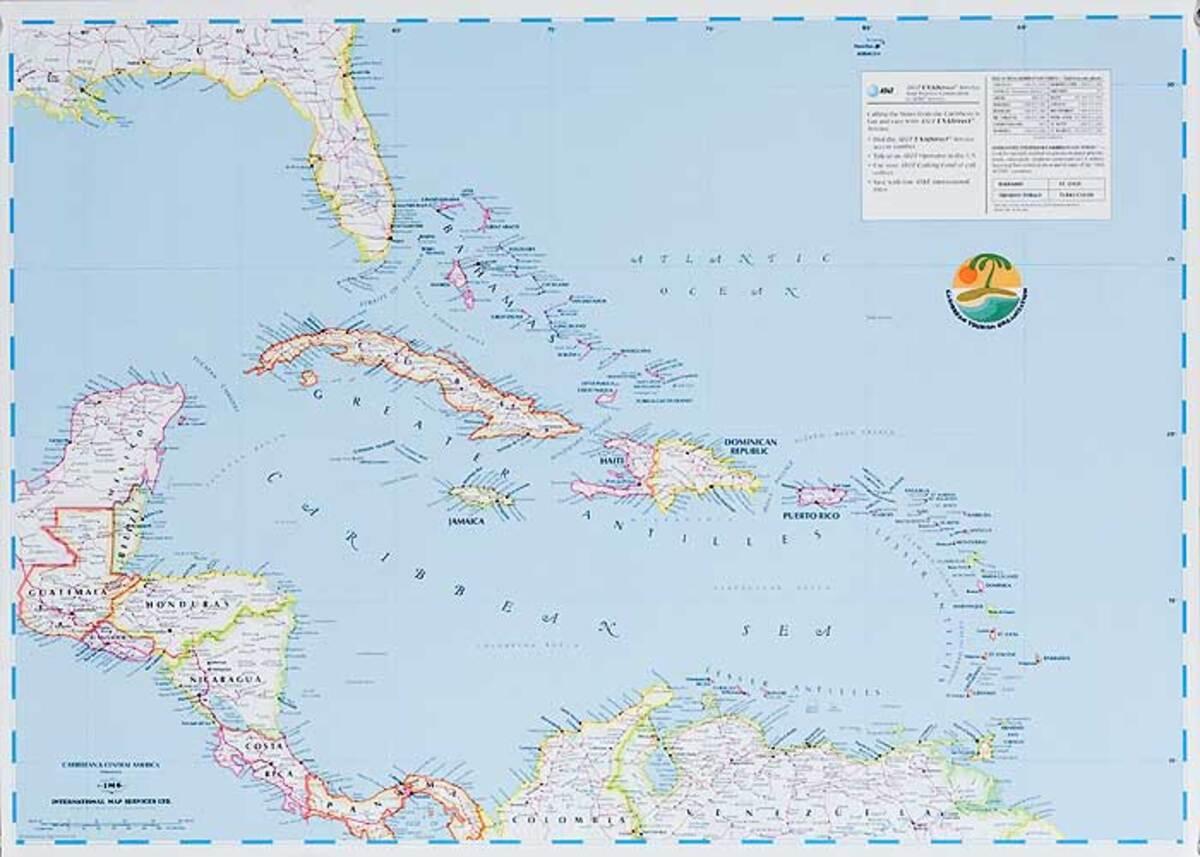 Caribbean Tourism Association Original Travel Map Poster
