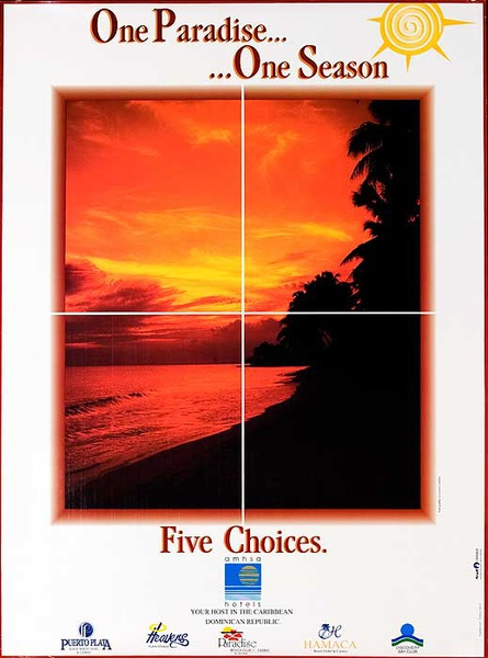 One Paradise One Season Five Choices Original Caribbean Hotels Travel Poster