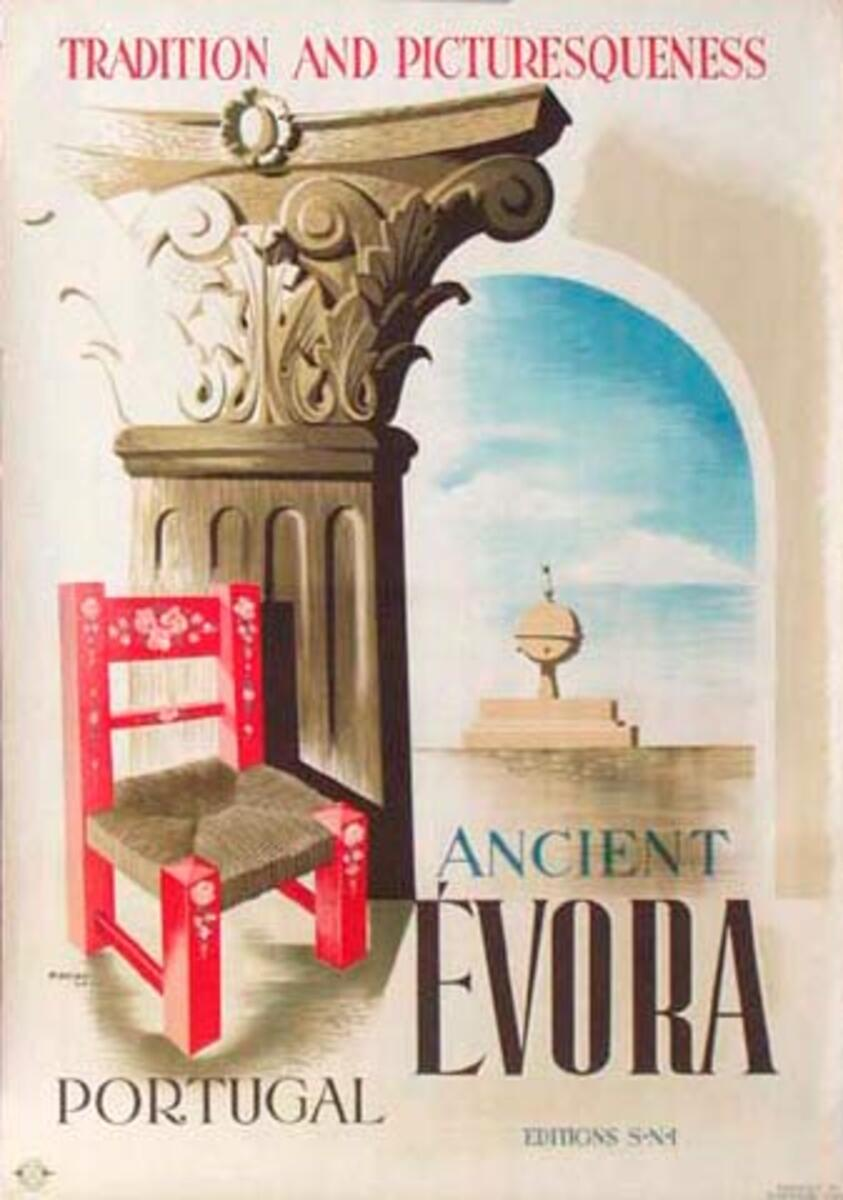 Evora Portugal Original Vintage Travel Poster