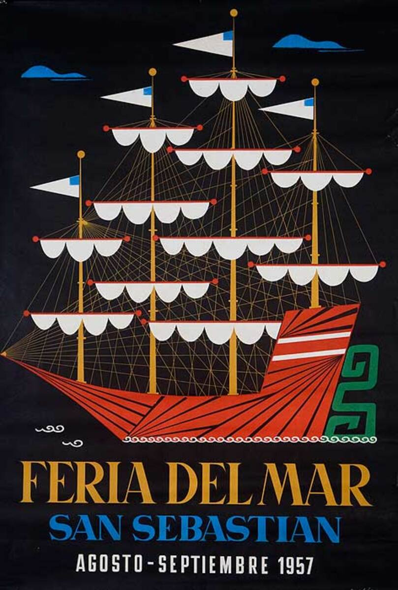 Feria Del Mar Original San Sebastian Portugal Travel Poster