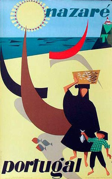 Nazare Portugal Original Vintage Travel Poster