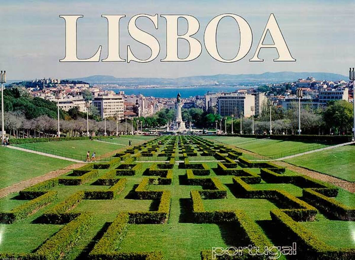 Lisbon Portugal Original Travel Poster Gardens