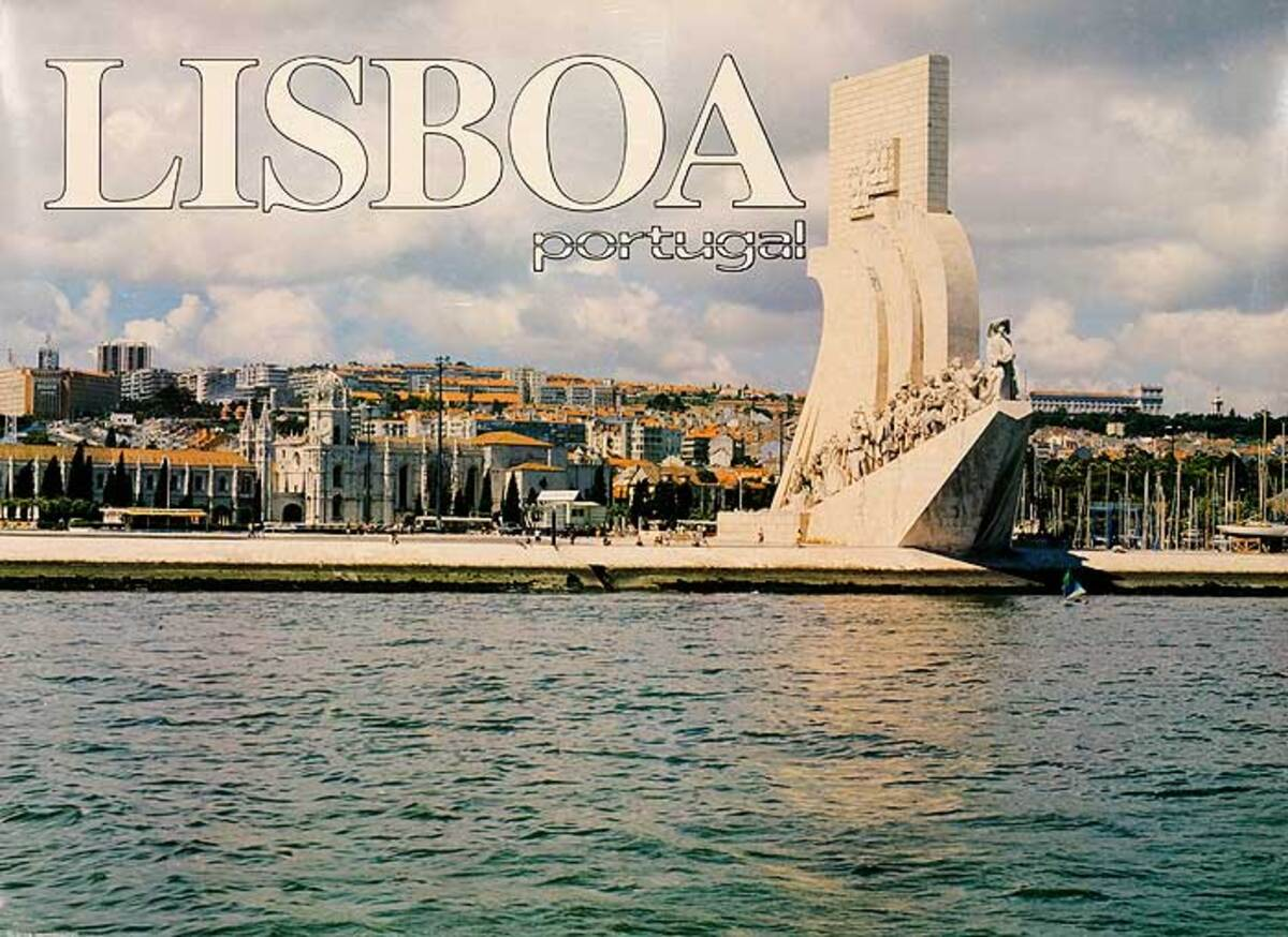 Lisbon Portugal Original Travel Poster Harbor