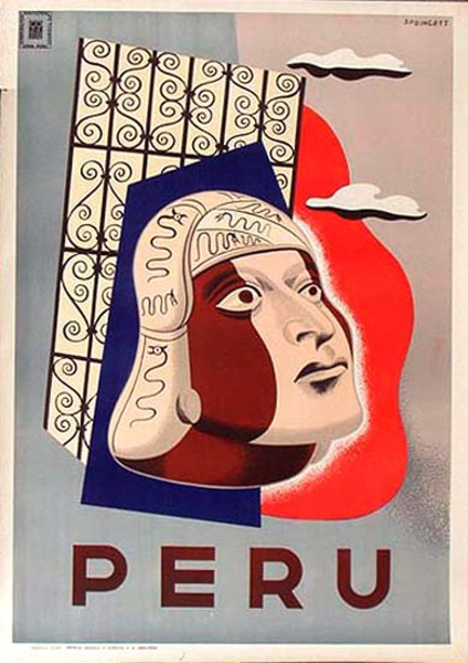 Peru Original Vintage Travel Poster Head
