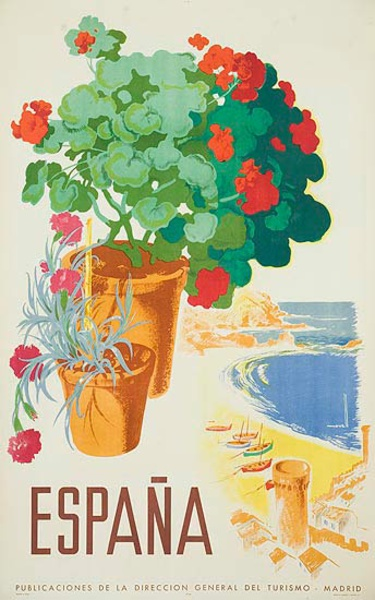 Espana Original Spanish Travel Poster Geraniums