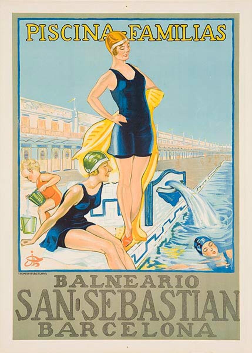 Piscina Familias Original Spanish Travel Poster Family Pools Balneario San Sebastian Barcelona