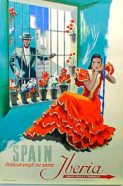 Andalusia Windows Spain Original Vintage Travel Poster