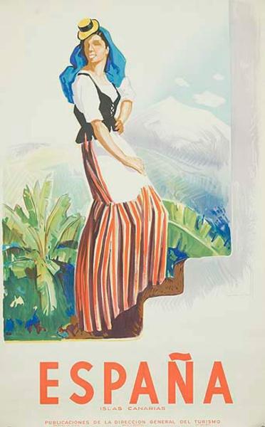 Canary Islands Spain Original Vintage Travel Poster