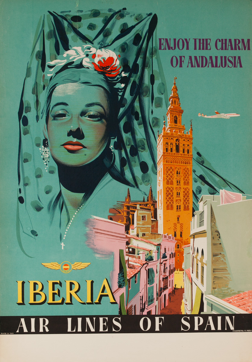 Charms of Andalusia Spain Original Iberia Airlines Vintage Travel Poster