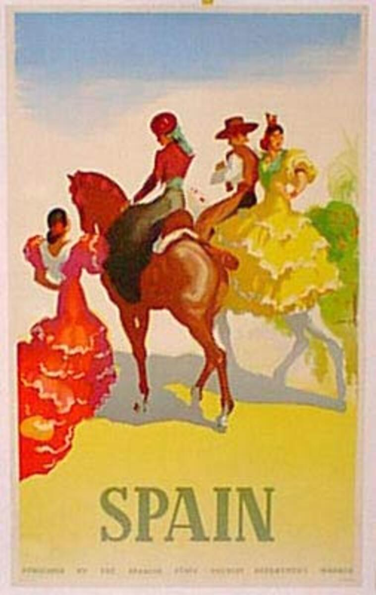 Spain Original Vintage Travel Poster flamenco horses