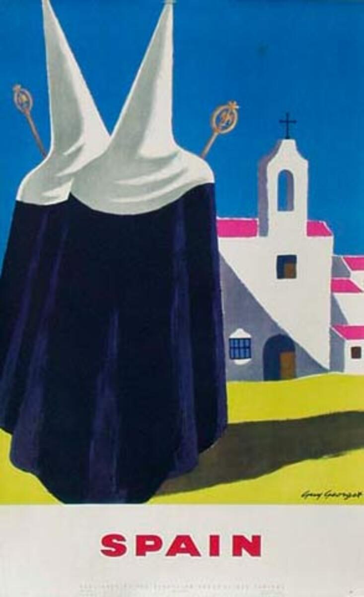 Spain Original Vintage Travel Poster nuns