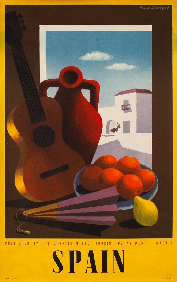 Spain Original Vintage Travel Poster orange pepper