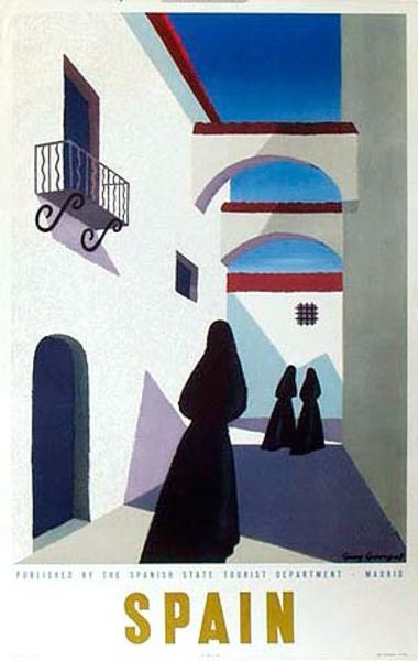 Spain Original Vintage Travel Poster Women in Black