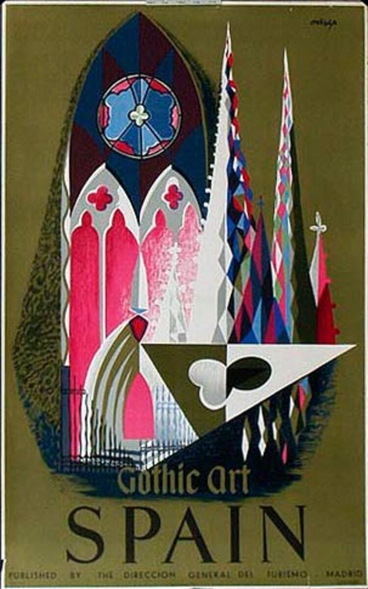 Spain Original Vintage Travel Poster gothic art