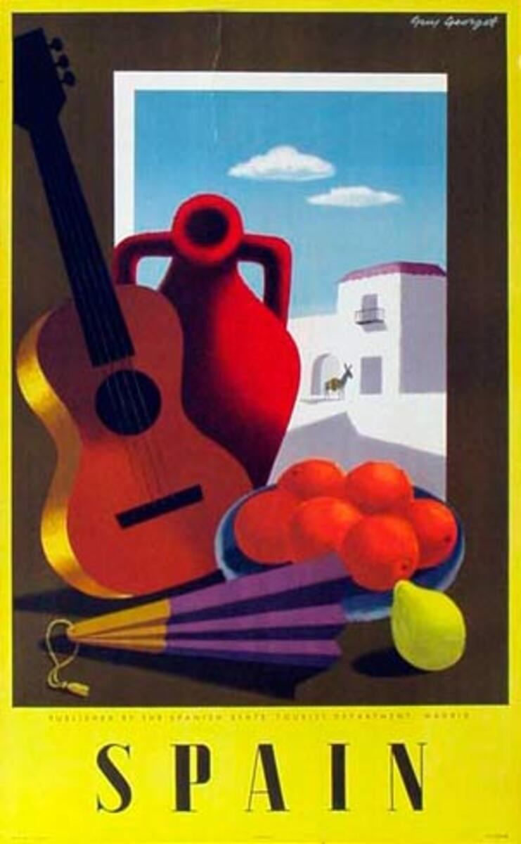 Spain Original Vintage Travel Poster guitar/fruit