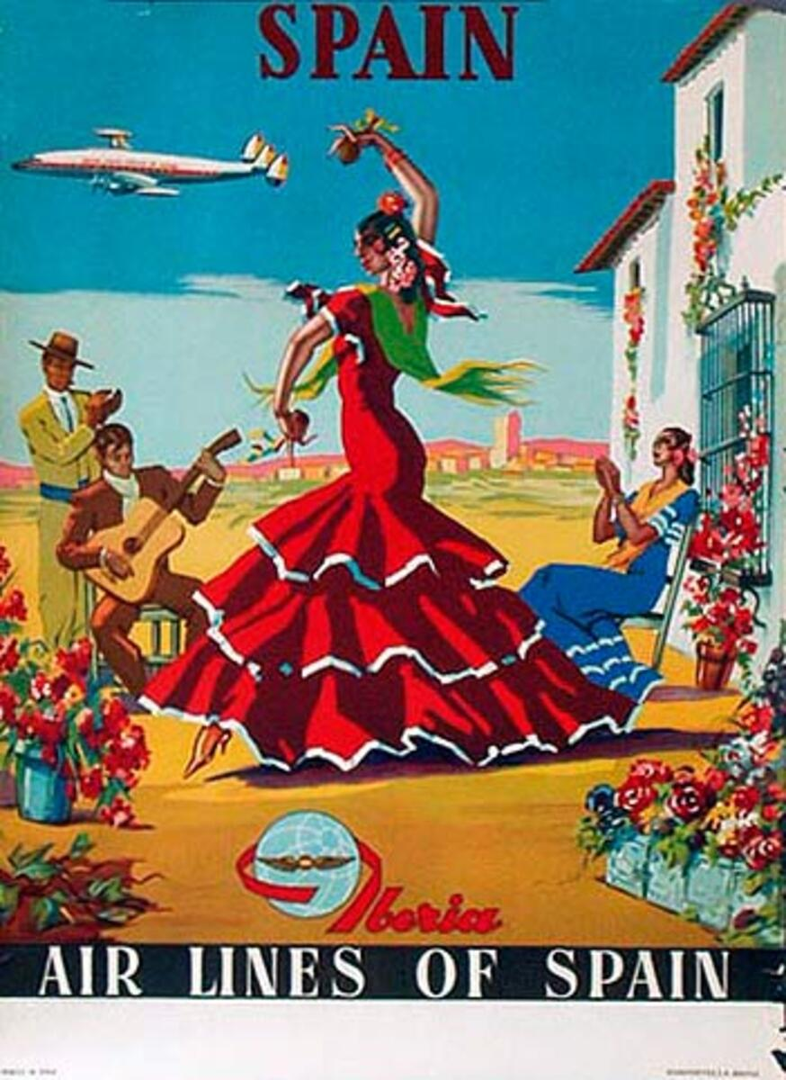 Spain Original Vintage Travel Poster Iberia dancer
