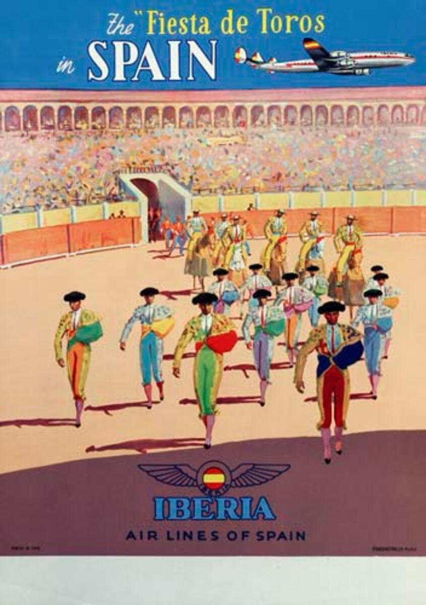 Iberia Airlines Fiesta De Toros Original Spanish Travel Poster