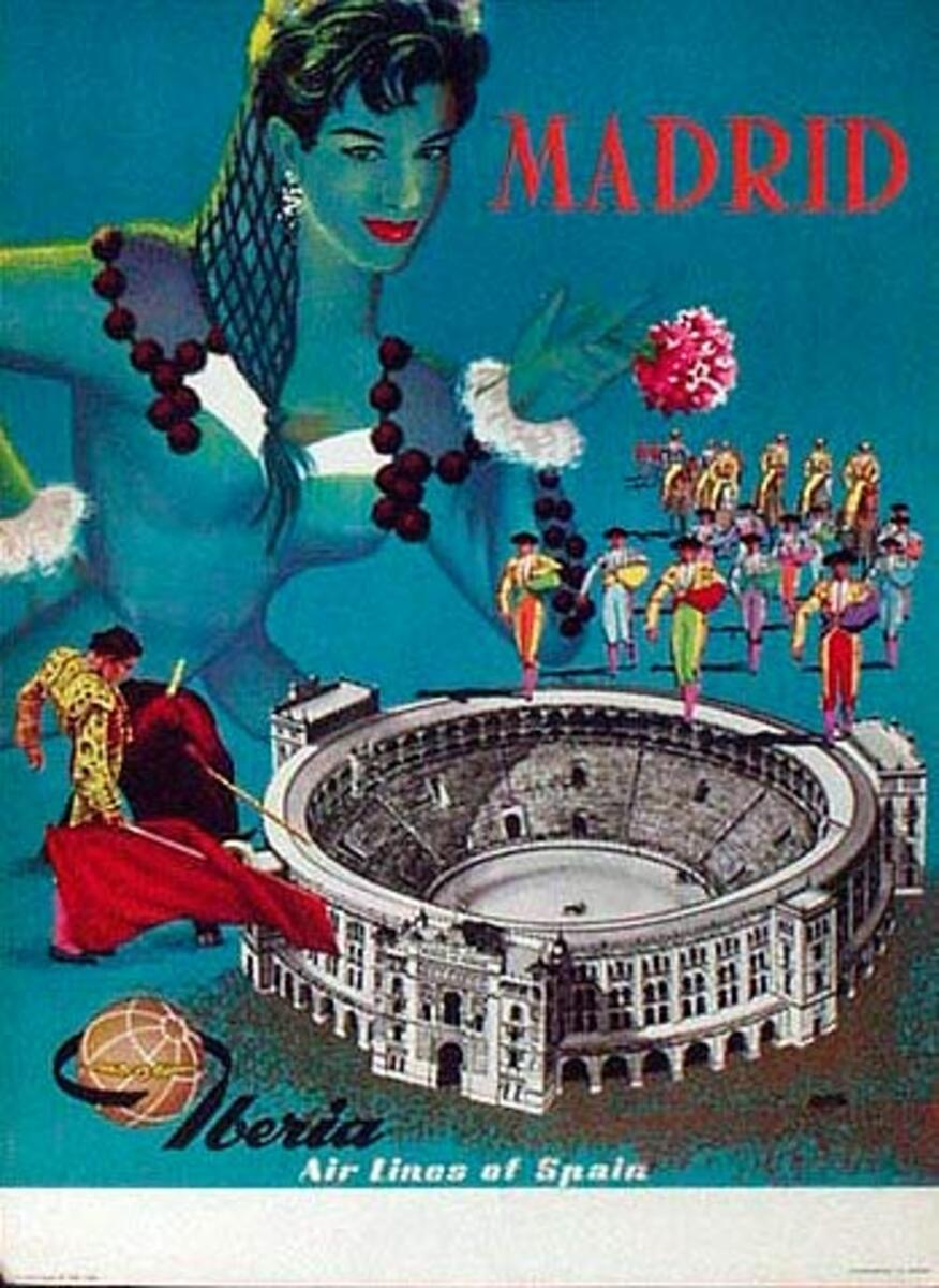 Spain Original Vintage Travel Poster Madrid Iberia