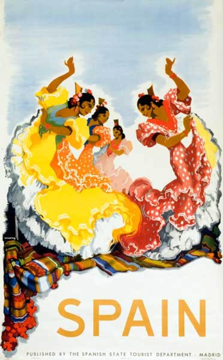 Spain Flamenco Dancers Original Travel Poster