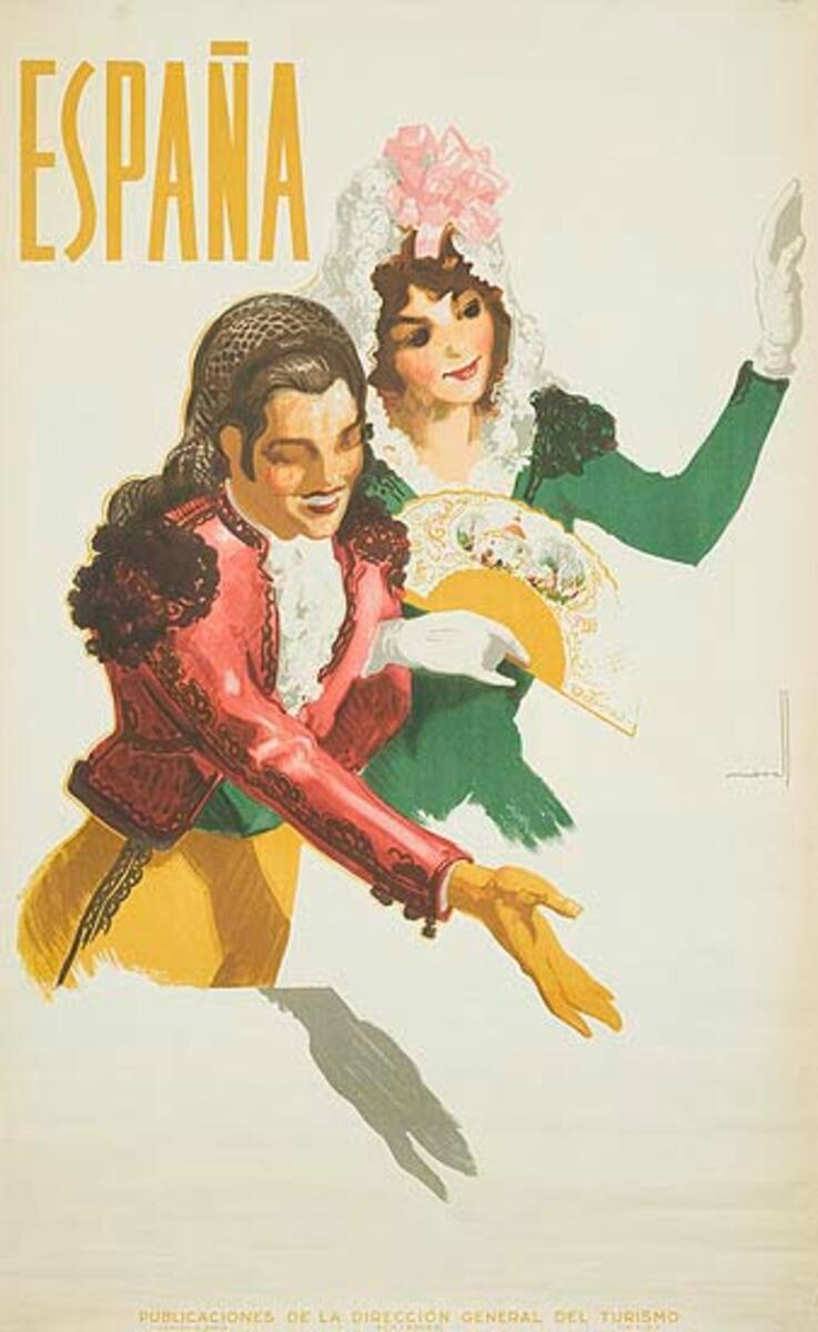 Spain Original Vintage Travel Poster couple