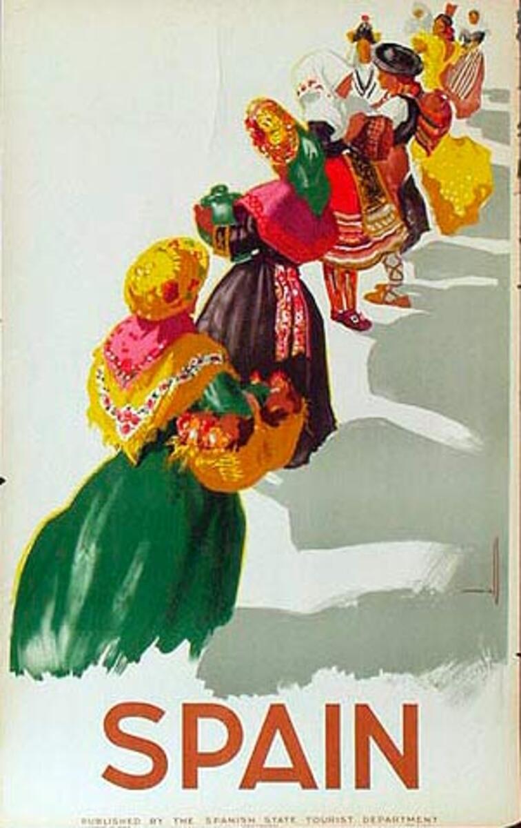 Spain Original Vintage Travel Poster row of women