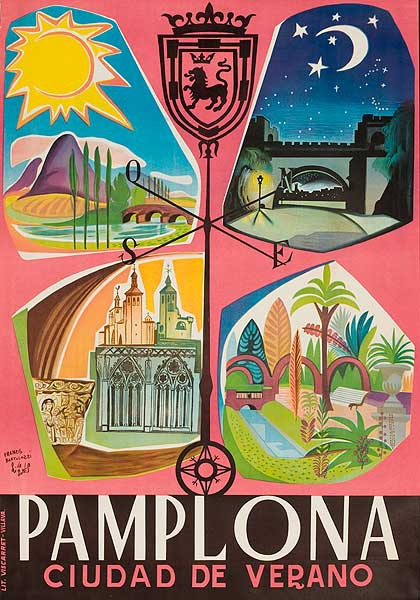 Pamplona Cuidad de Verano Original Spanish Travel Poster
